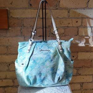B. Makowsky Aqua Floral Snakeskin Shoulder Bag